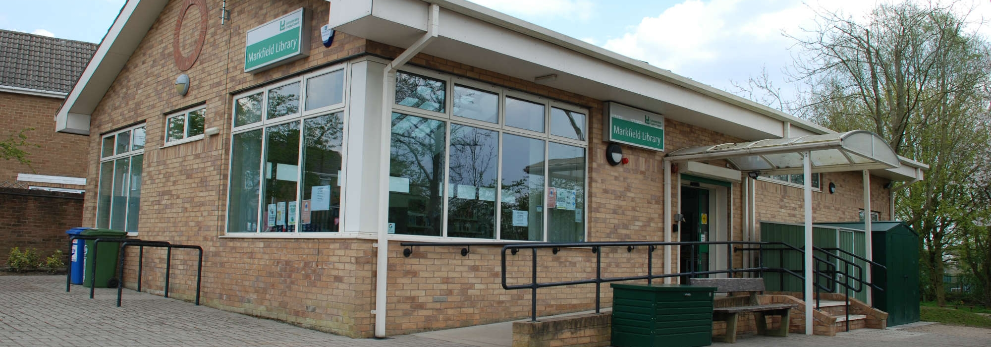 Markfield Library, front of library shown in image